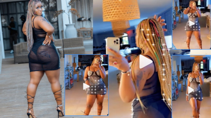 Winnie Nwagi flaunts hourglass figure in black transparent dress with shiny accessories