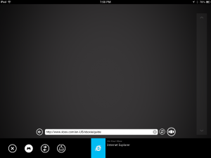 Internet Explorer screen on XBox SmartGlass