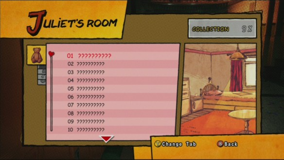 The Juliet's Room screen in Lollipop Chainsaw