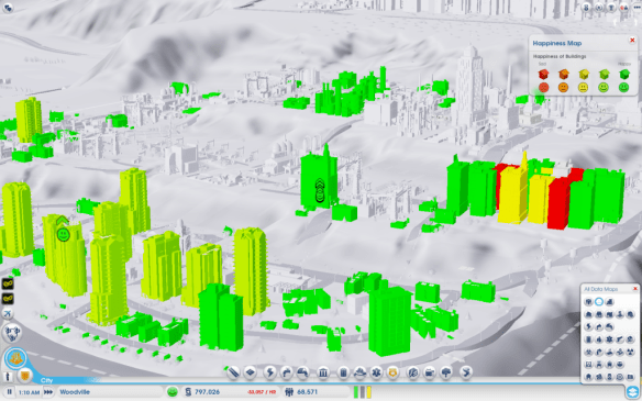 Happiness graph in SimCity, at a low camera angle to see more city