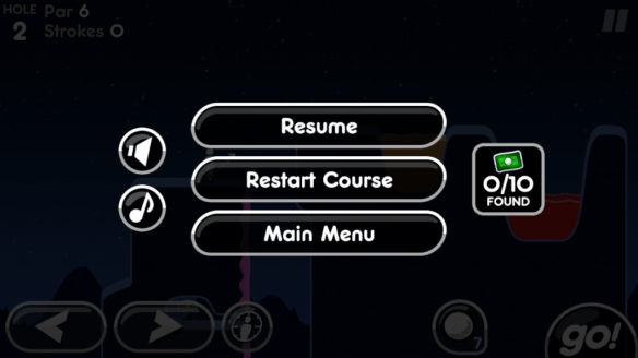 Pause menu in Super Stickman Golf 2