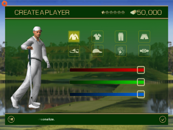 Customize clothing screen in Tiger Woods PGA Tour 12 for iOS