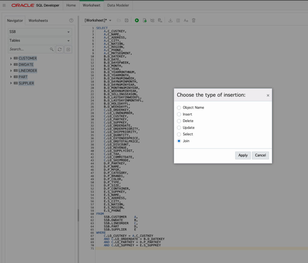 Exploring The New Ssb Schema With Sql Developer Web
