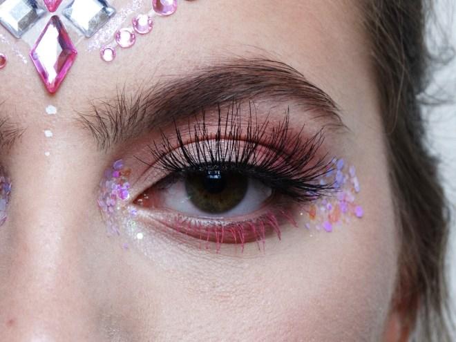 pink festival makeup look