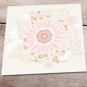 Cream Gifting Card with Flower Design