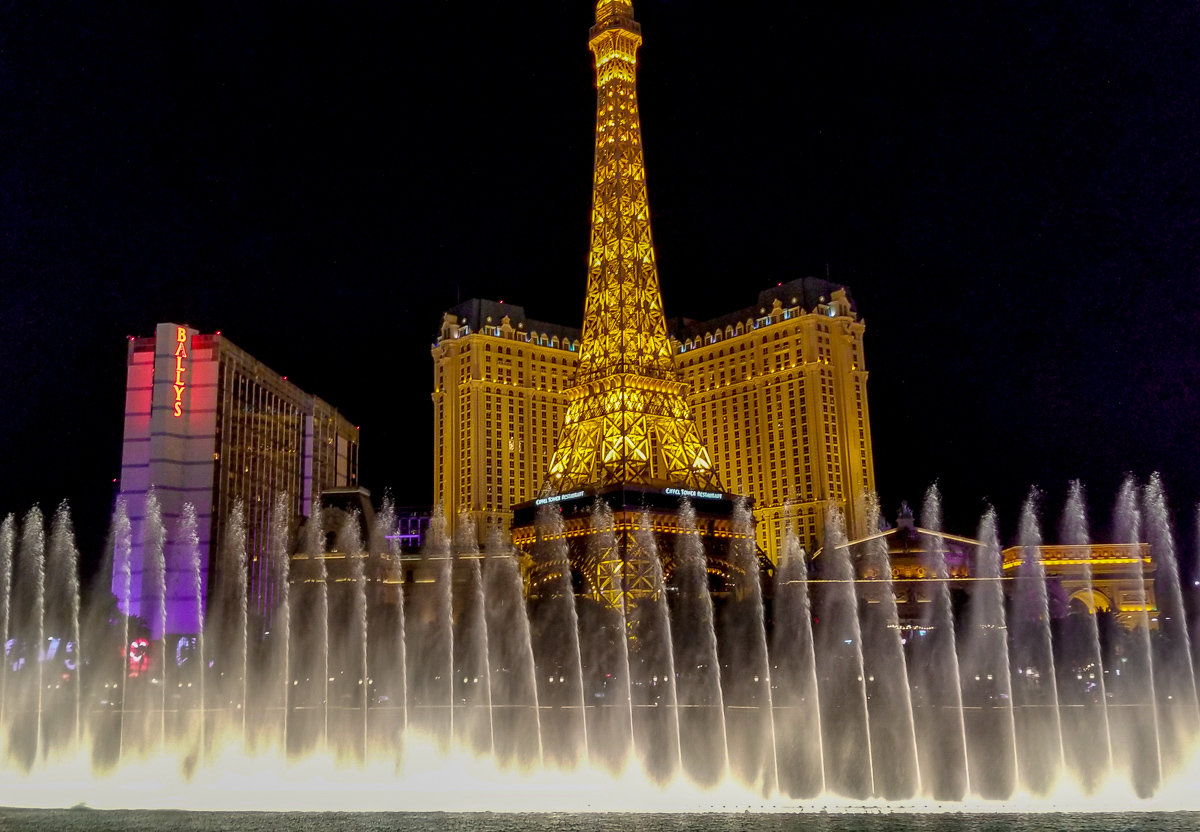 The Bellagio fountains with Paris hotel in the background