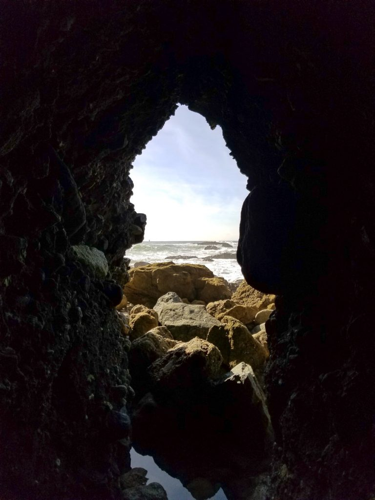 The entrance from inside the Dana Point Sea Cave