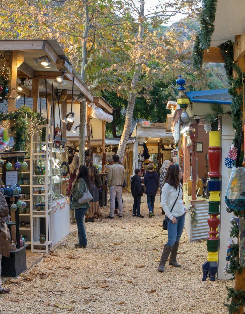 The shops inside of the Sawdust Art Festival Winter Fantasy