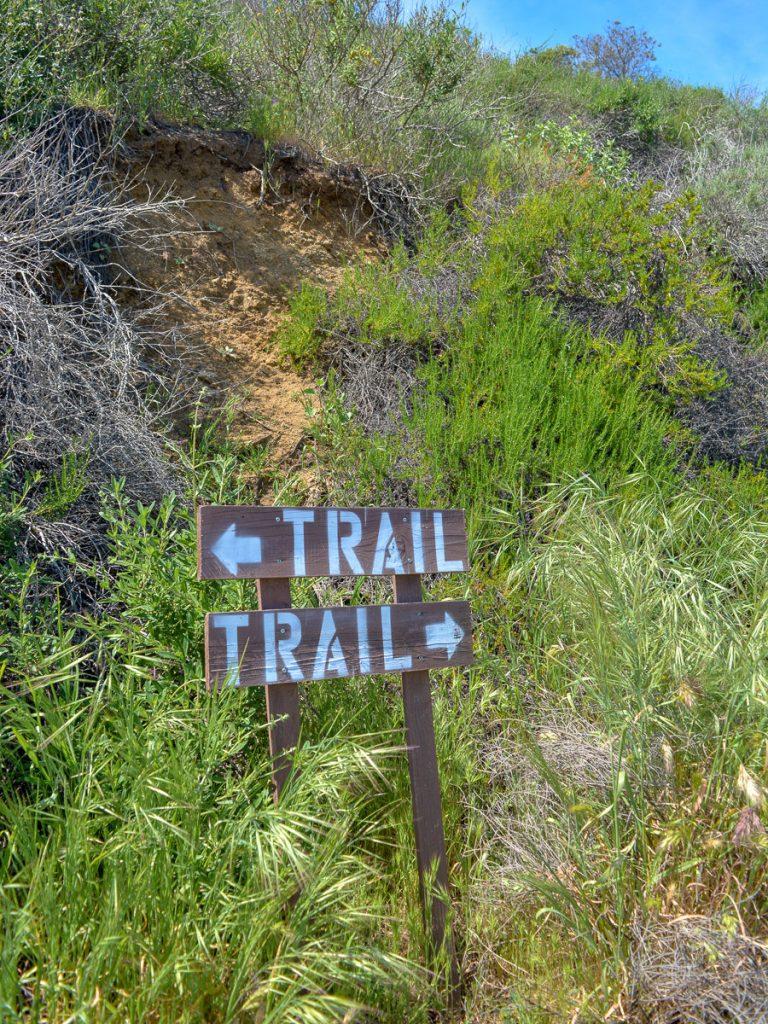 Trail sign in Laguna Coast Wilderness Park