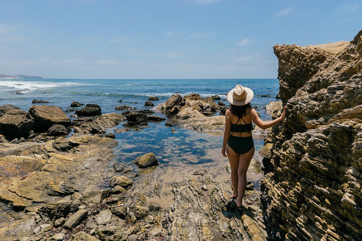Exploring the rocky beach landscape