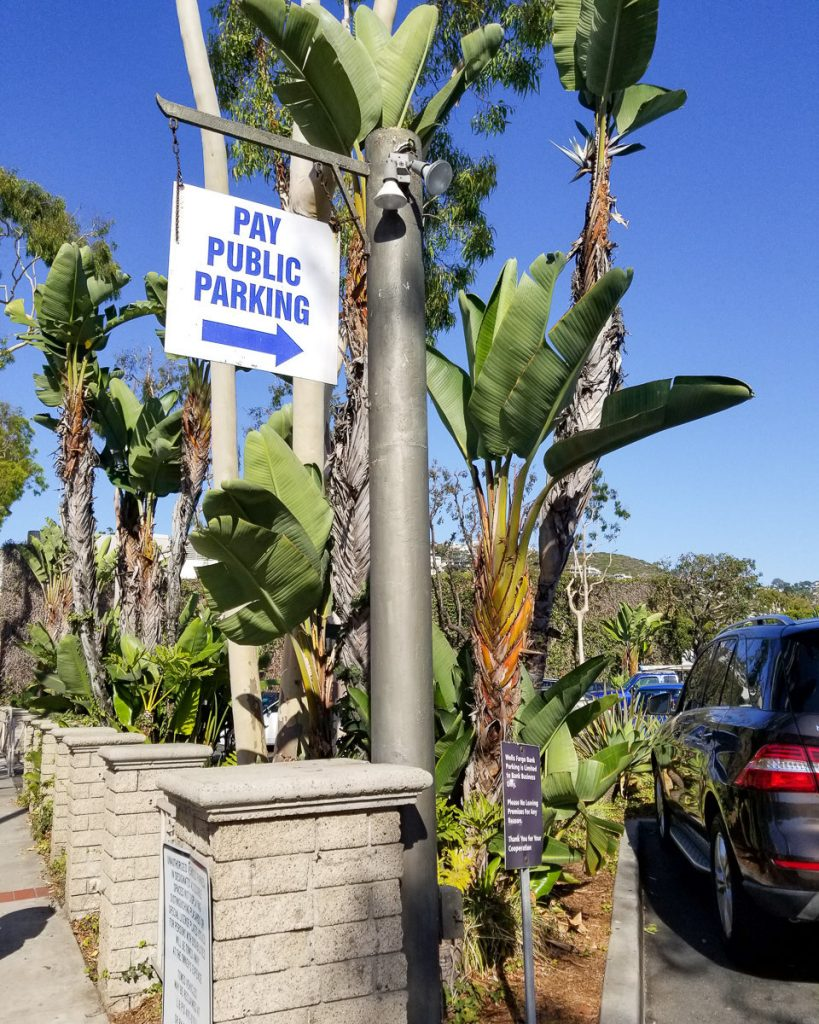 Public parking in Laguna Beach, California