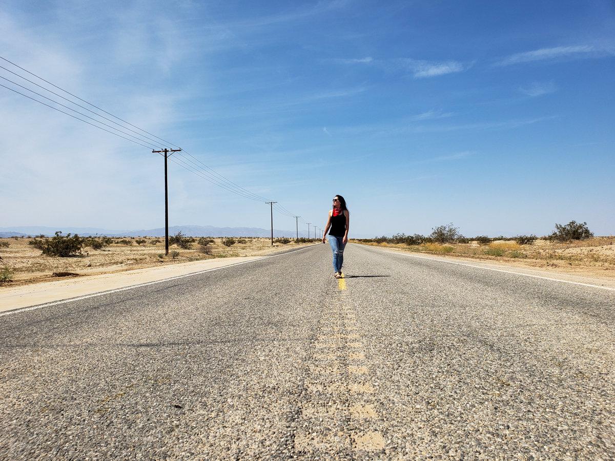 Empty Road in Southern California's Colorado Desert