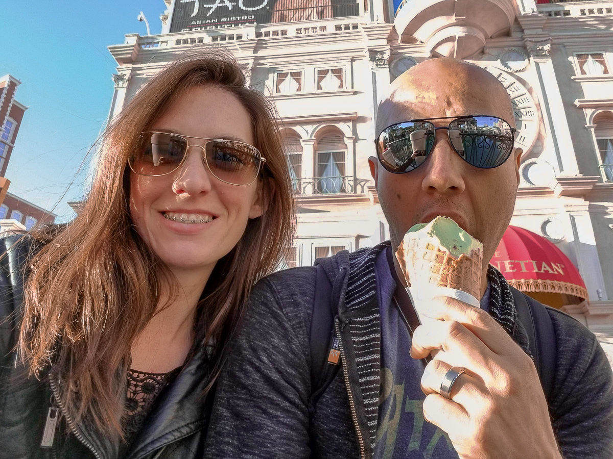 Eating Gelato at the Venetian Las Vegas