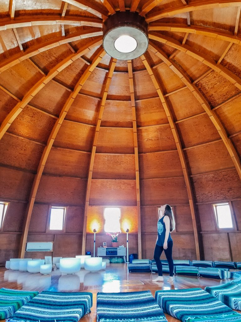 The dome shaped ceiling inside of the Integratron in Joshua Tree