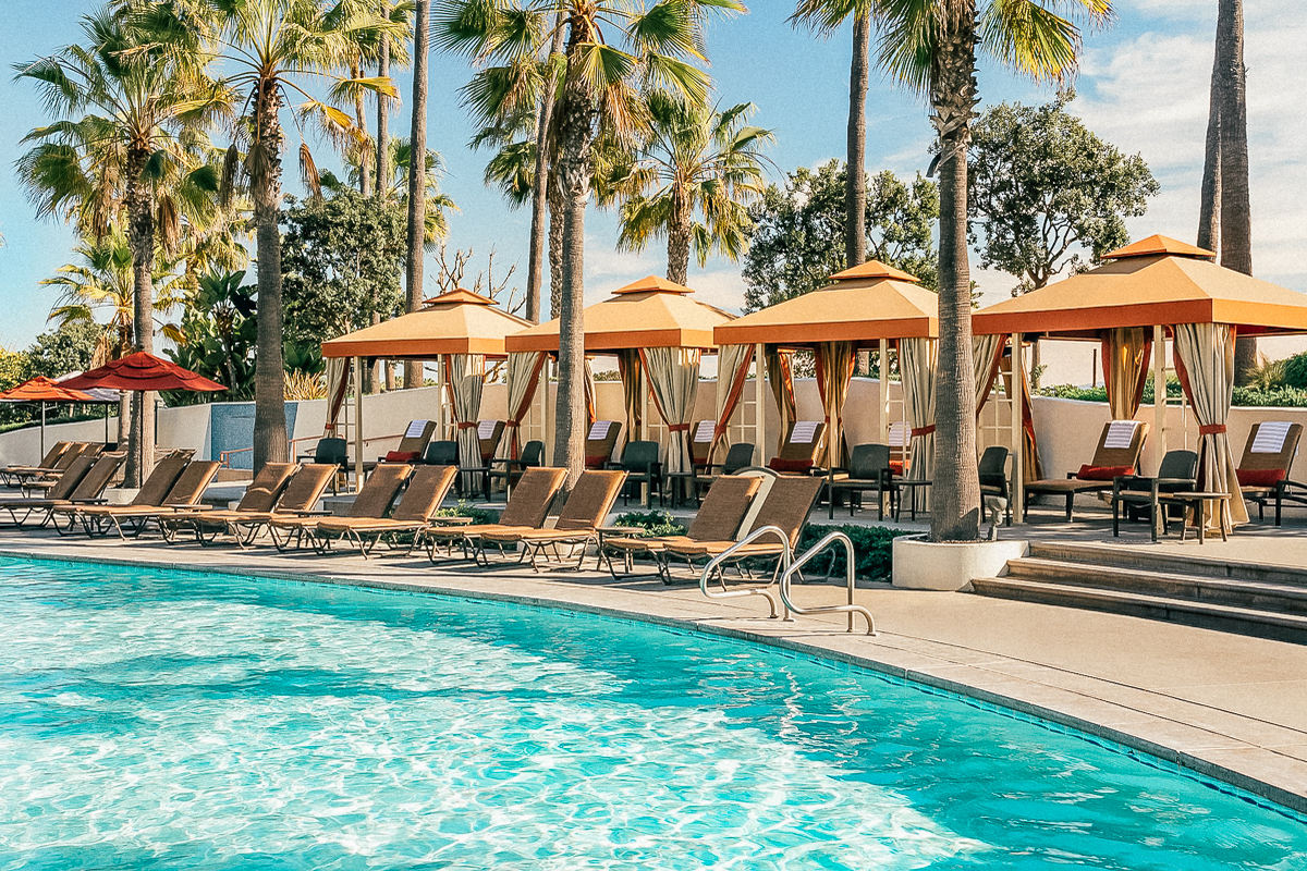 Cabanas by the pool at Hyatt Regency Huntington Beach