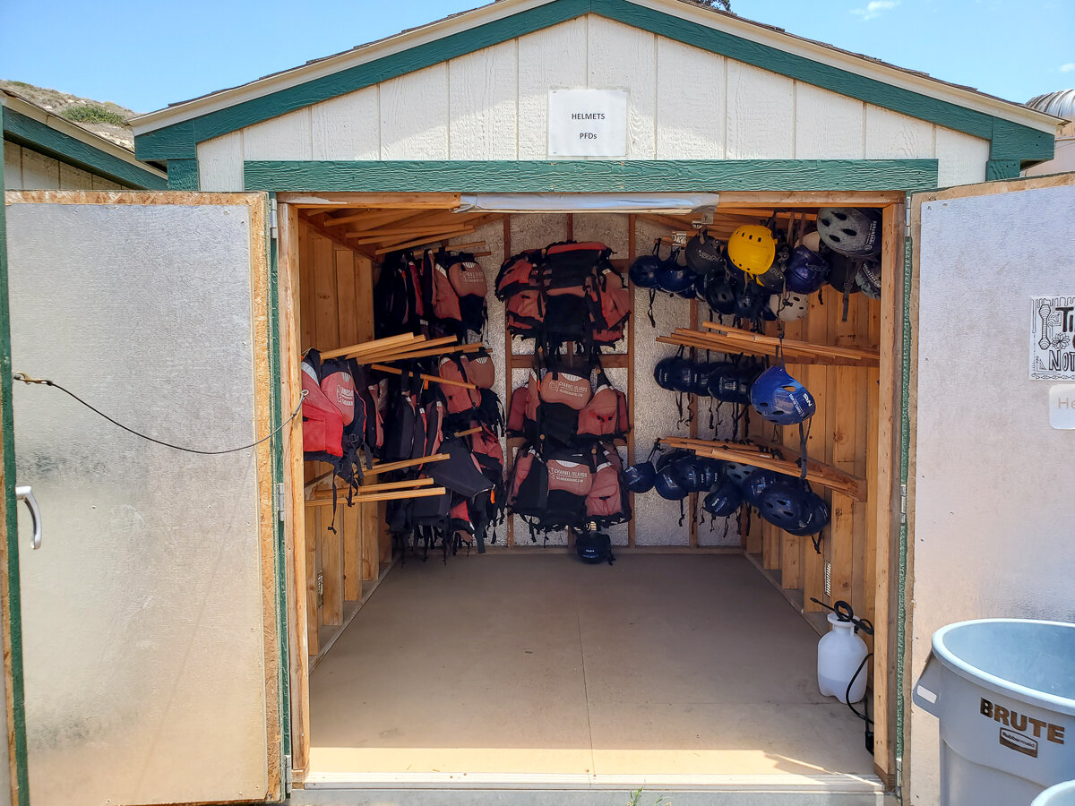 Channel Islands Kayak Tours helmets and life jackets