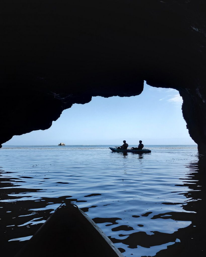 Kayaking inside of a sea cave at Channel Islands