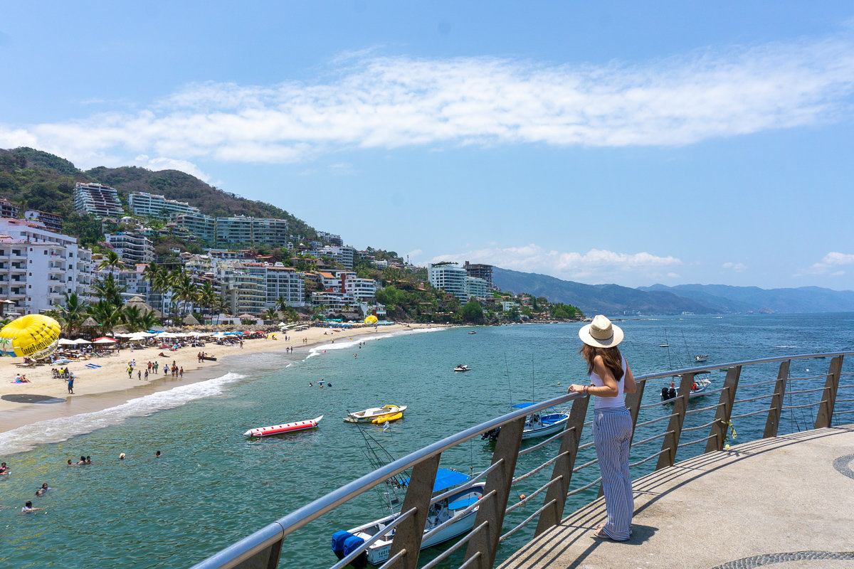 Looking out at Los Muertos Beach from the pier in Puerto Vallarta, Mexico