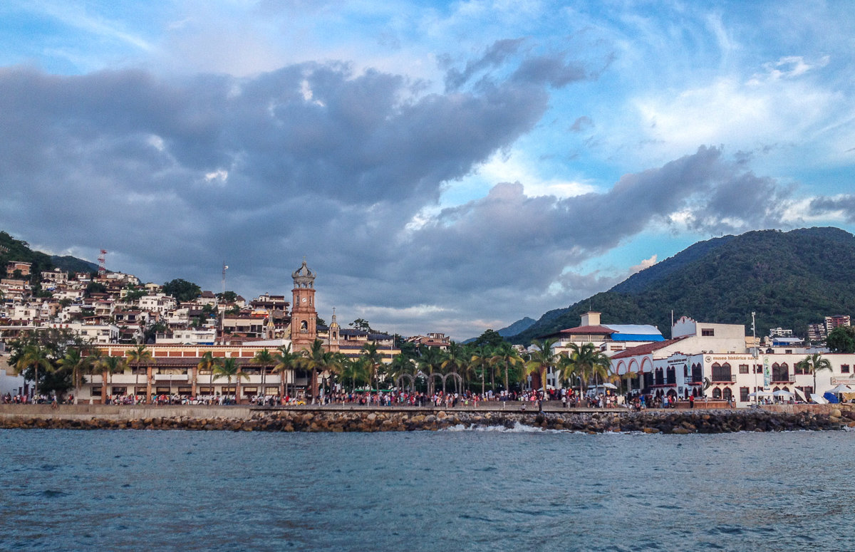 View of Malecon and Church in downtown Puerto Vallarta, Mexico
