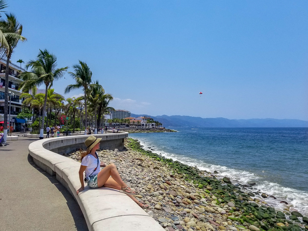 On the Malecon enjoying my trip to Puerto Vallarta, Mexico