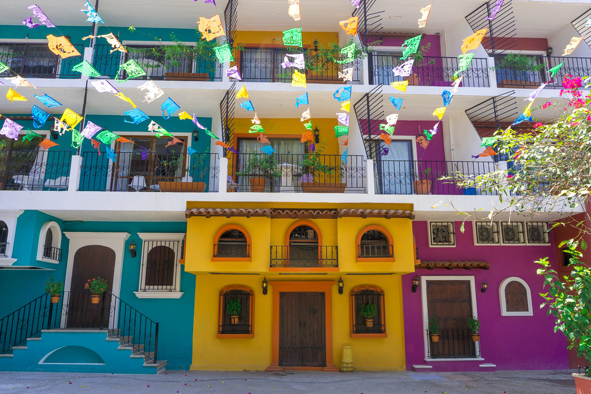 Colorful houses in the Olas Altas neighborhood in Puerto Vallarta, Mexico