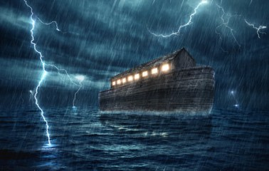 36351495 - noah's ark during a rain and lightning storm.