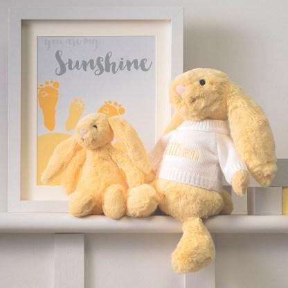 Personalised Jellycat lemon bashful bunny soft toy