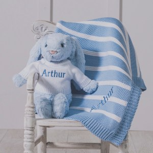 Personalised Jellycat blue bashful bunny and ziggle striped baby blanket gift set