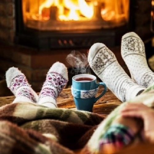 Hygge socks by the fire