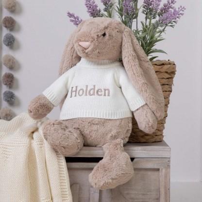 Personalised Jellycat Beige Bashful Bunny Large Soft Toy