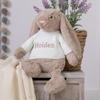 Personalised Jellycat Beige Bashful Bunny Large Soft Toy