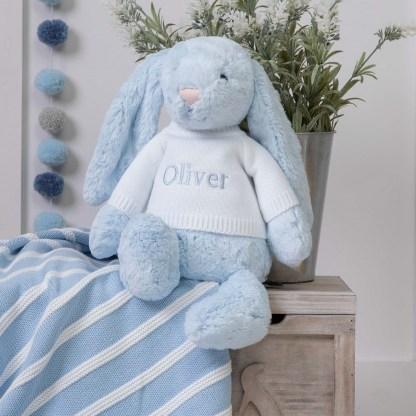 Personalised Jellycat Blue Bashful Bunny Large Soft Toy