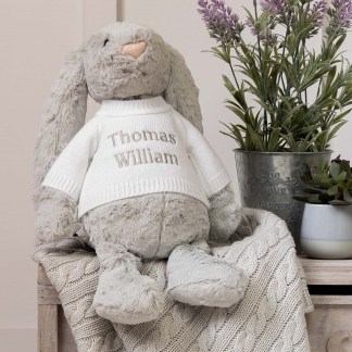 Personalised Jellycat Grey Bashful Bunny Large Soft Toy