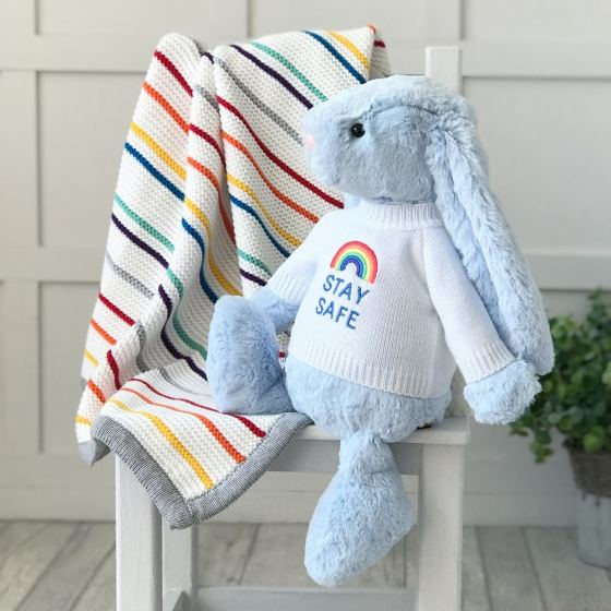 Jellycat large bashful bunny soft toy with 'Stay Safe' jumper in Pale Blue