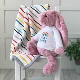 Jellycat large bashful bunny soft toy with 'Stay Safe' jumper in Tulip