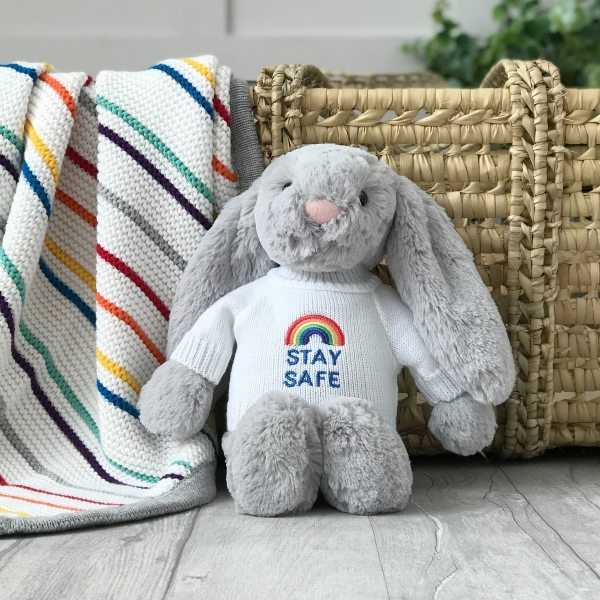 Jellycat medium bashful bunny soft toy with 'Stay Safe' jumper in Silver