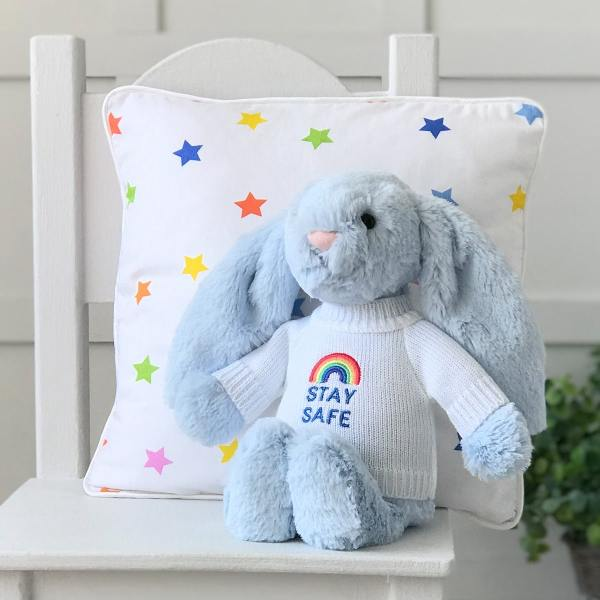 Jellycat medium bashful bunny soft toy with 'Stay Safe' jumper in Pale Blue