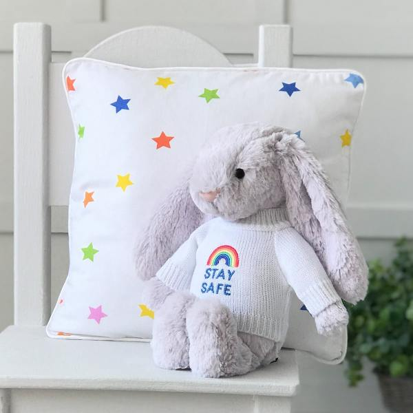 Jellycat medium bashful bunny soft toy with 'Stay Safe' jumper in Lavender