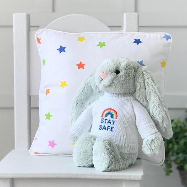 Jellycat medium bashful bunny soft toy with 'Stay Safe' jumper in Seaspray