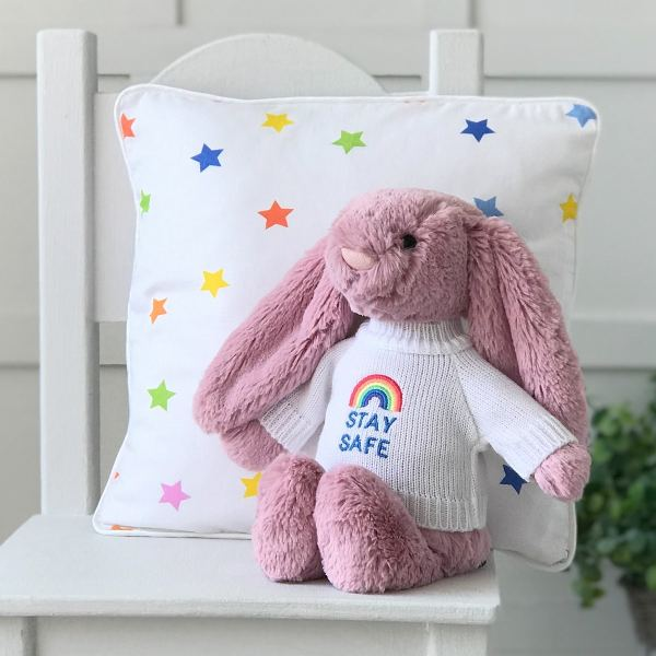 Jellycat medium bashful bunny soft toy with 'Stay Safe' jumper in Tulip