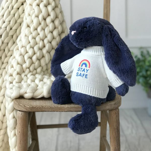 Jellycat medium bashful bunny soft toy with 'Stay Safe' jumper in Navy Blue