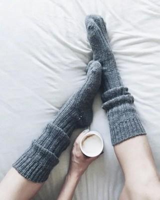 scandinavian feeling hygge coffee wollen sock bed