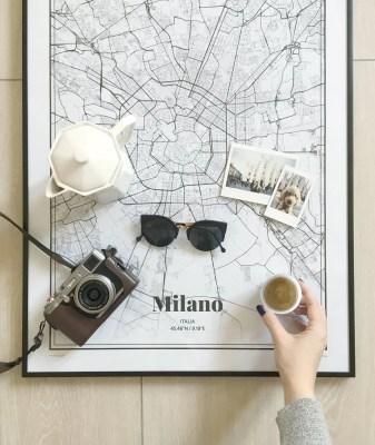 grafomap poster milano flatlay