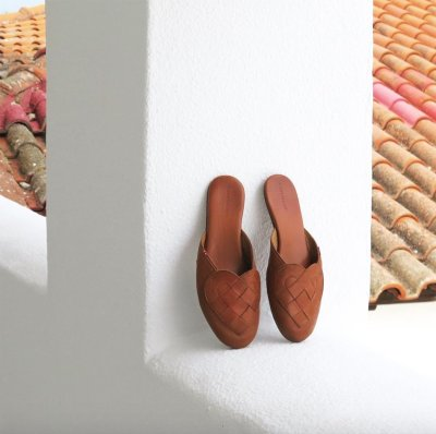 Scandinavian mules design shoe heart brown wall