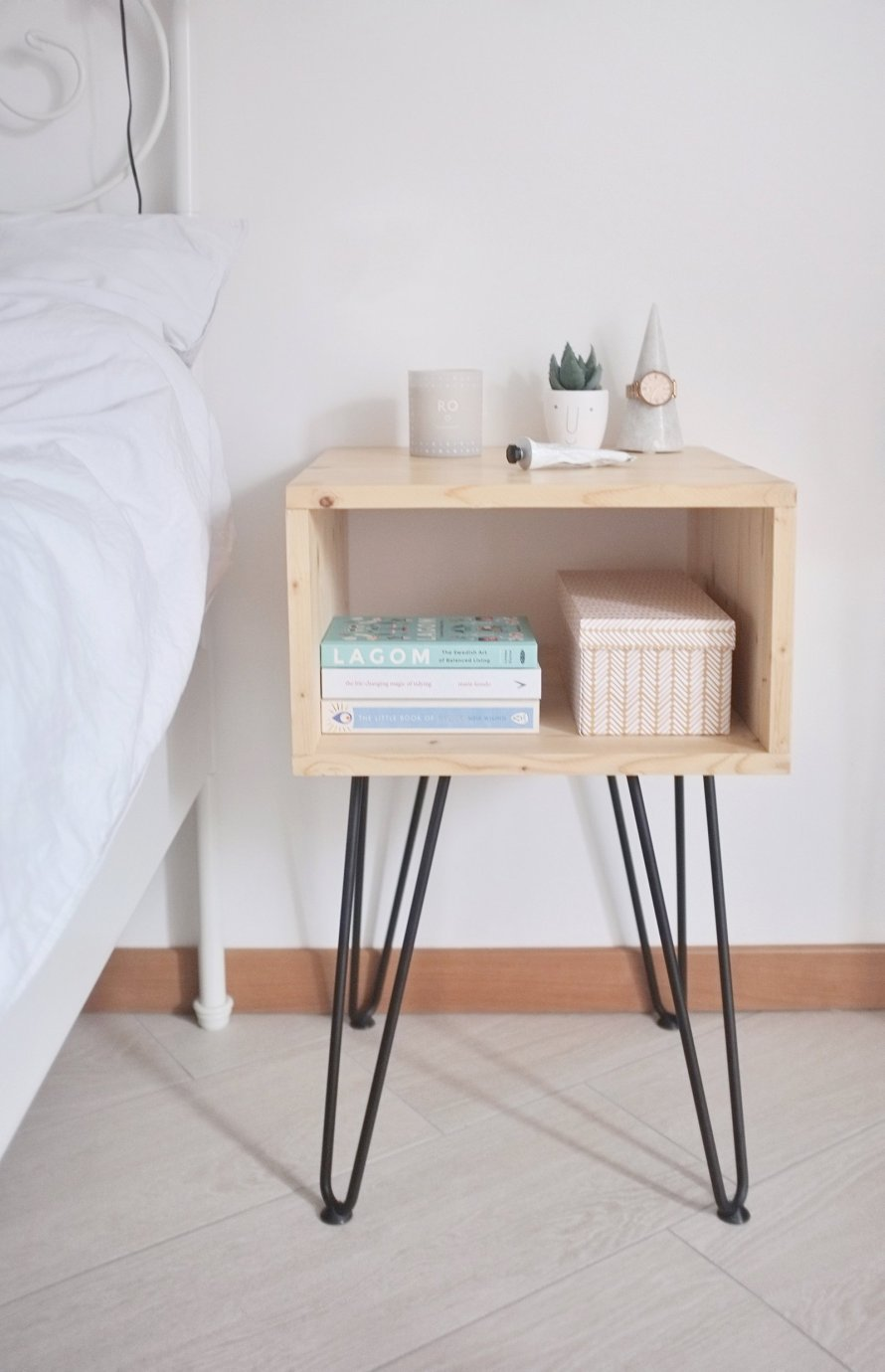 diy interior nightstand hairpinlegs bedroom 2