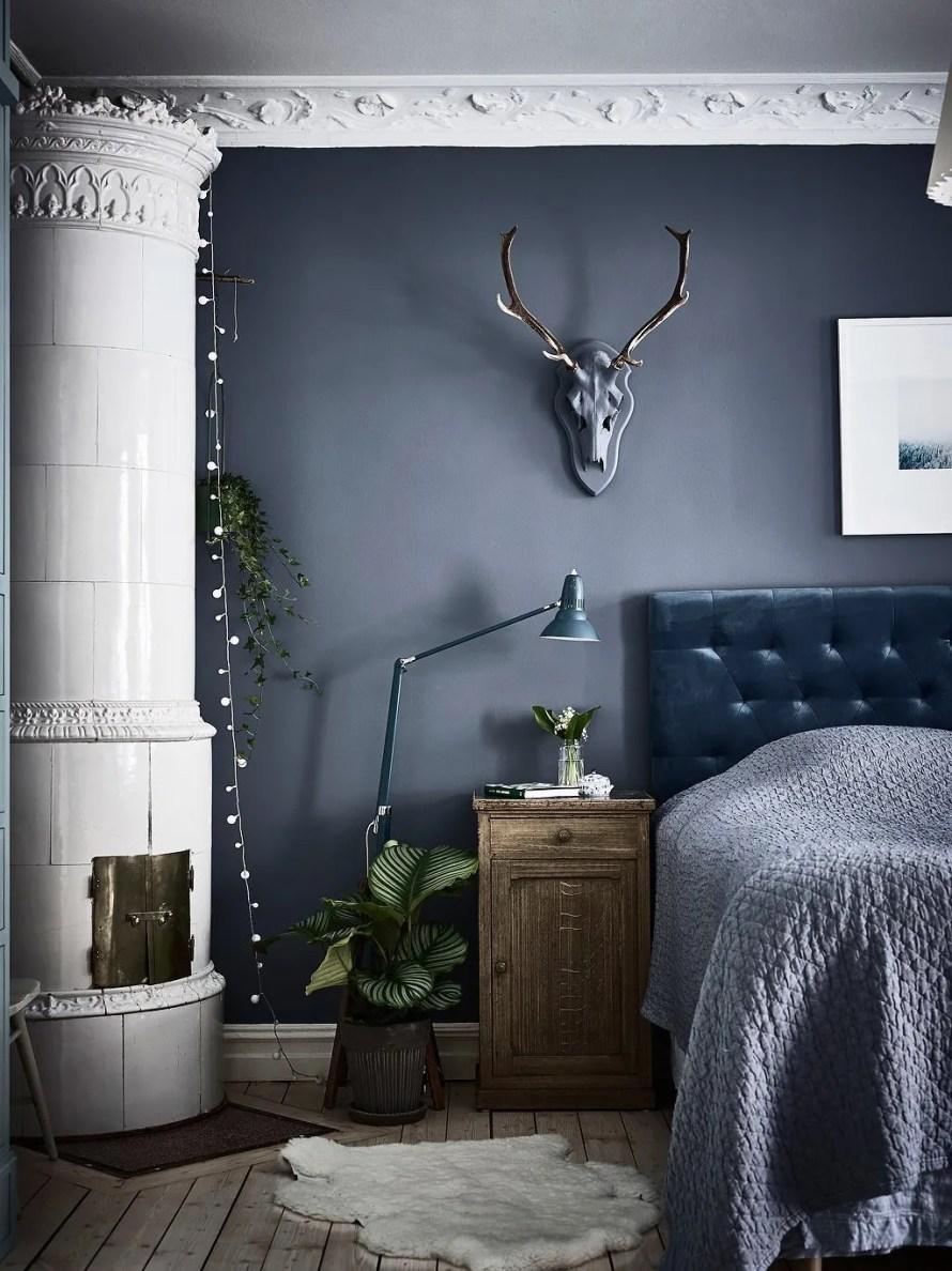 bedroom cozy hygge dark fireplace