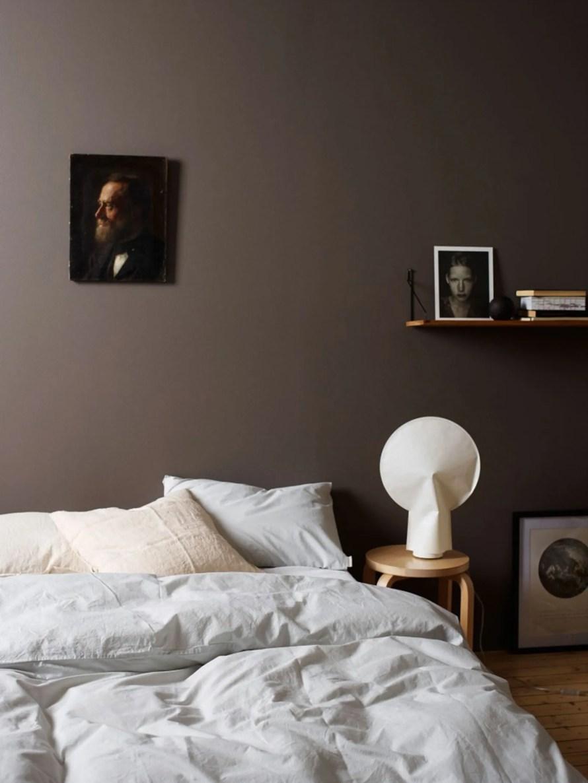 brown bedroom wall calm hygge scandinavian