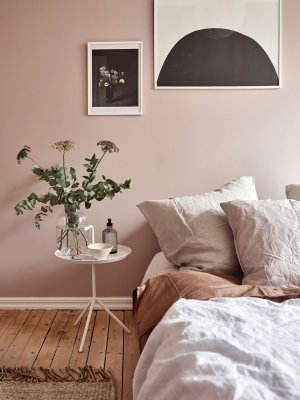 dusky pink bedroom details calm cozy scandinavian