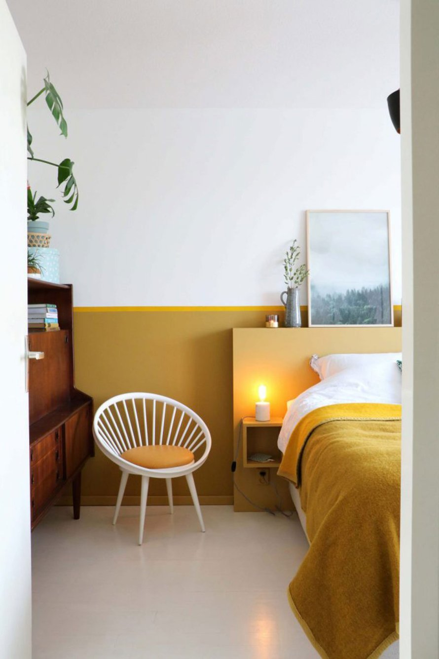 mustard yellow bedroom calm hygge nordic