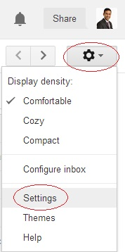 Click on gear drop down menu click on Settings in Gmail